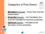 categories of flow downs