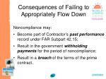 consequences of failing to appropriately flow down