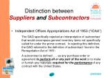 distinction between suppliers and subcontractors37