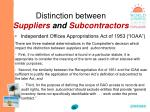 distinction between suppliers and subcontractors38
