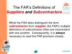 the far s definitions of suppliers and subcontractors