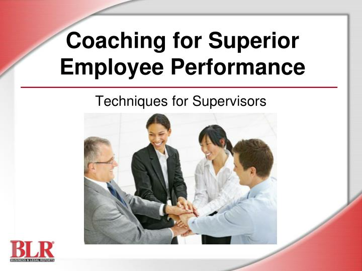 coaching for superior employee performance n.
