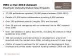 mrc e val 2010 dataset example outputs outcomes impacts
