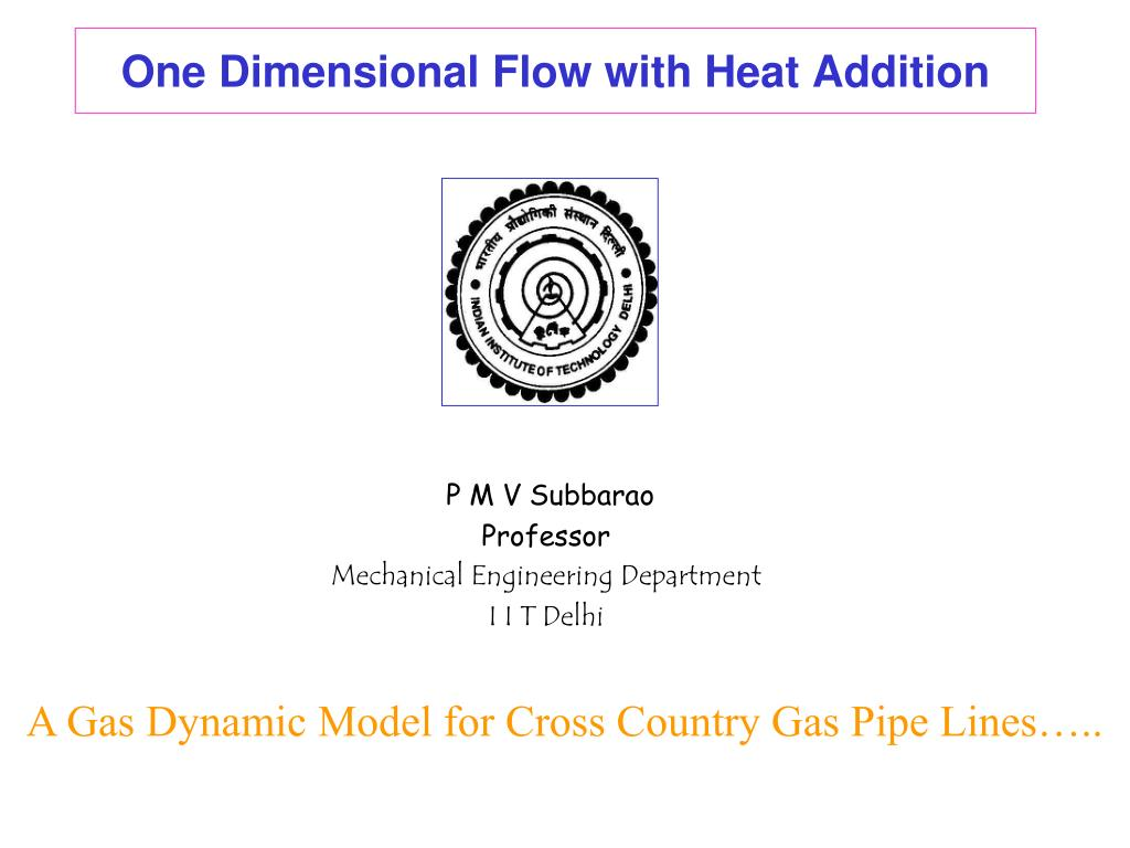 one dimensional flow with heat addition l.