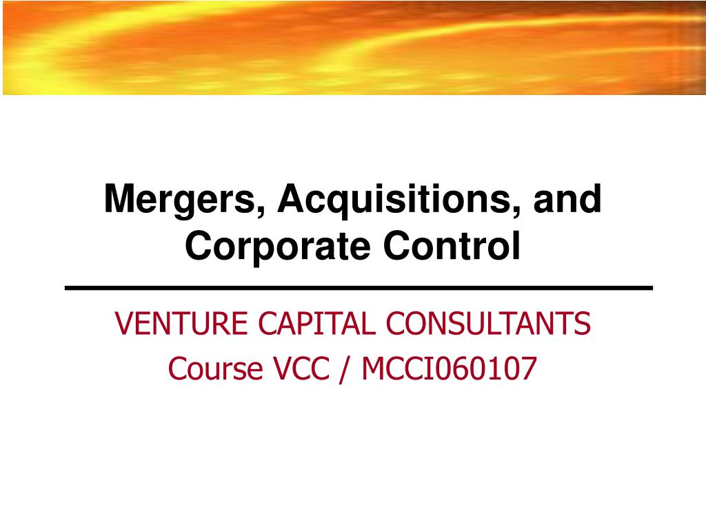mergers acquisitions and corporate control l.