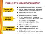 mergers by business concentration