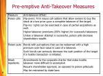 pre emptive anti takeover measures