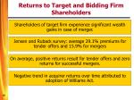 returns to target and bidding firm shareholders