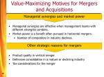 value maximizing motives for mergers and acquisitions16