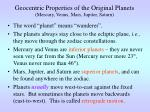 geocentric properties of the original planets mercury venus mars jupiter saturn