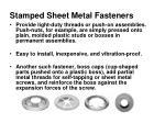 stamped sheet metal fasteners