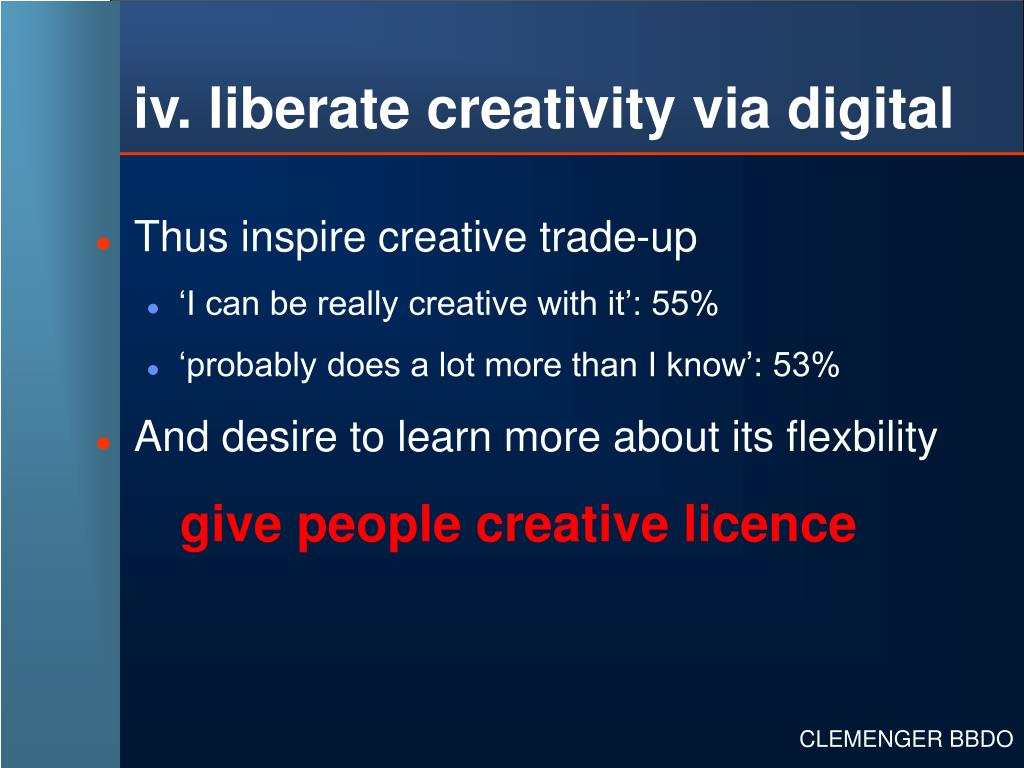iv. liberate creativity via digital