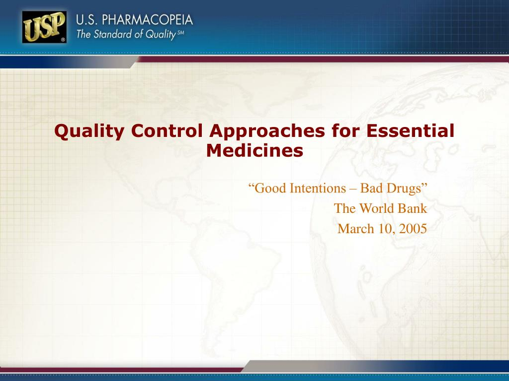 quality control approaches for essential medicines l.