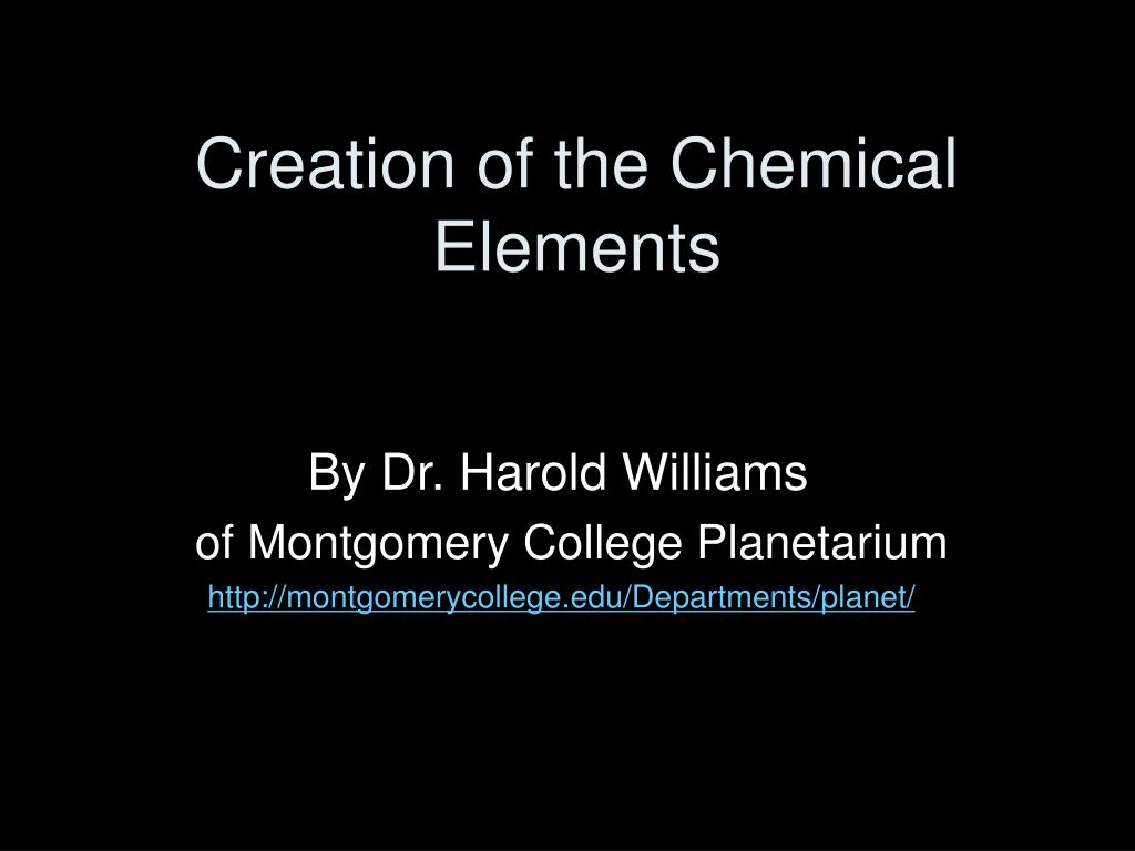 creation of the chemical elements l.