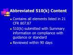 abbreviated 510 k content