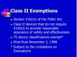 class ii exemptions