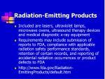 radiation emitting products103