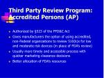 third party review program accredited persons ap