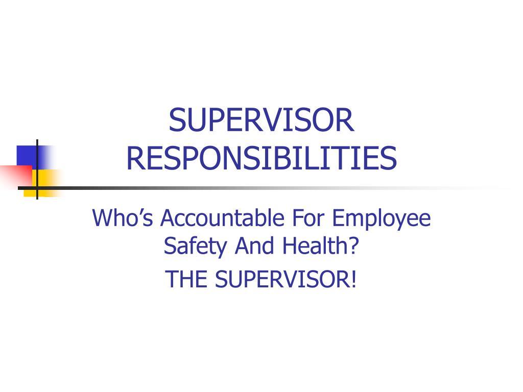 supervisor responsibilities l.