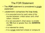 the for statement14