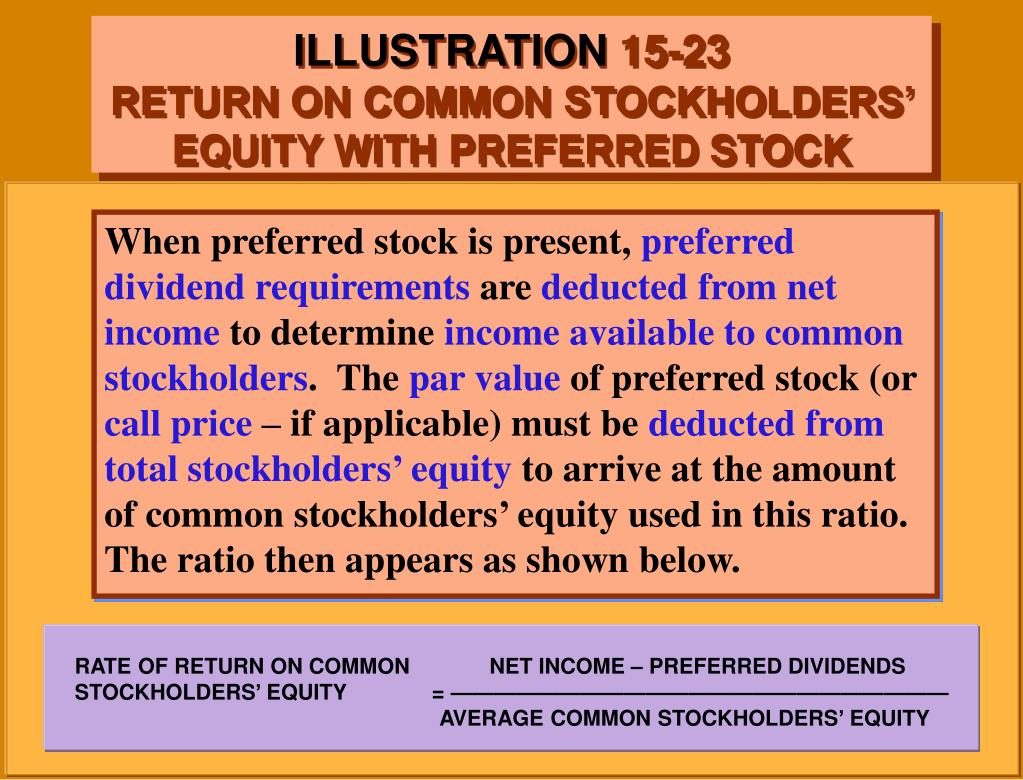 RATE OF RETURN ON COMMON             NET INCOME – PREFERRED DIVIDENDS                                    STOCKHOLDERS' EQUITY              = ———————————————————————                                                                                                                                                                                                                                                                 			            AVERAGE COMMON STOCKHOLDERS' EQUITY
