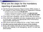 what are the steps for the mandatory reporting of possible ane