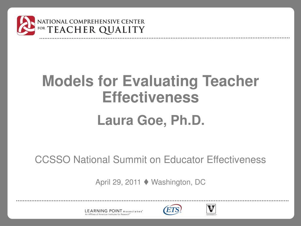 models for evaluating teacher effectiveness l.