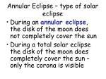 annular eclipse type of solar eclipse