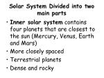 solar system divided into two main parts