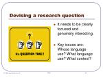 devising a research question