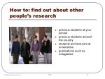 how to find out about other people s research