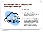 knowledge about language is developed through