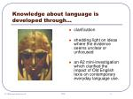 knowledge about language is developed through6