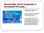 knowledge about language is developed through9