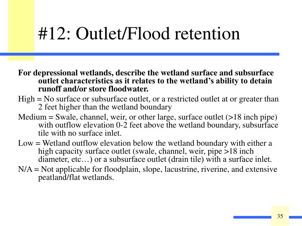 For depressional wetlands, describe the wetland surface and subsurface outlet characteristics as it relates to the wetland's ability to detain runoff and/or store floodwater.