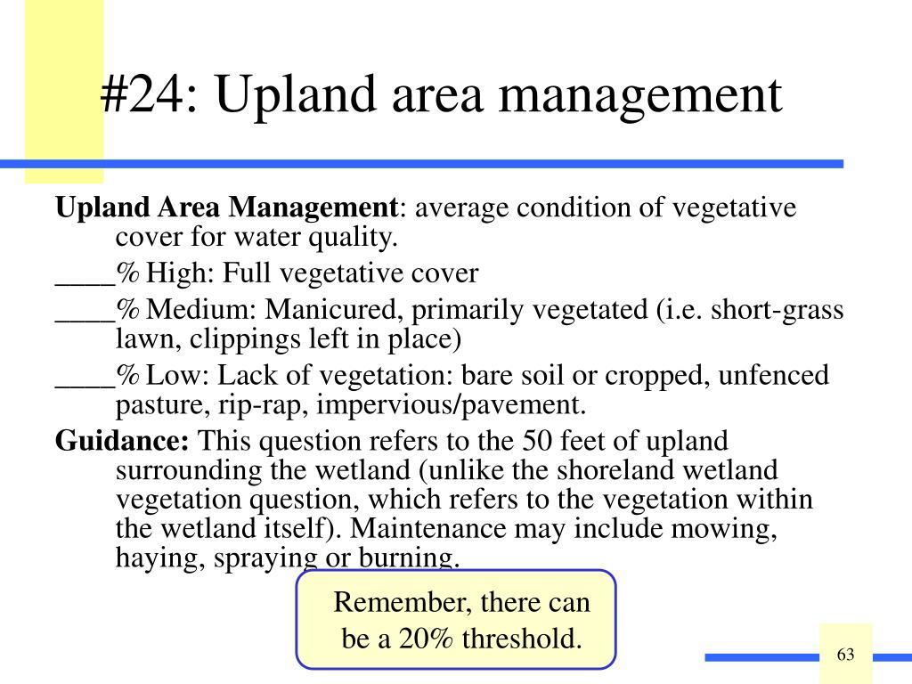 Upland Area Management