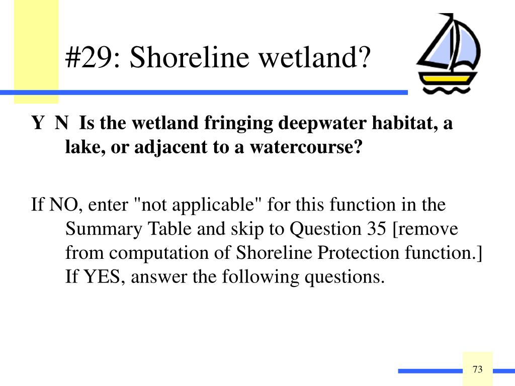 Y  N  Is the wetland fringing deepwater habitat, a lake, or adjacent to a watercourse?