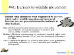 41 barriers to wildlife movement