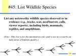 45 list wildlife species