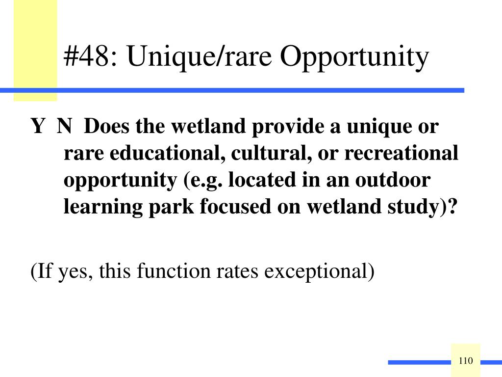 Y  N  Does the wetland provide a unique or rare educational, cultural, or recreational opportunity (e.g. located in an outdoor learning park focused on wetland study)?
