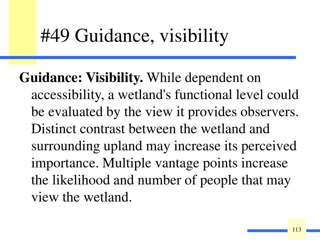 Guidance: Visibility.