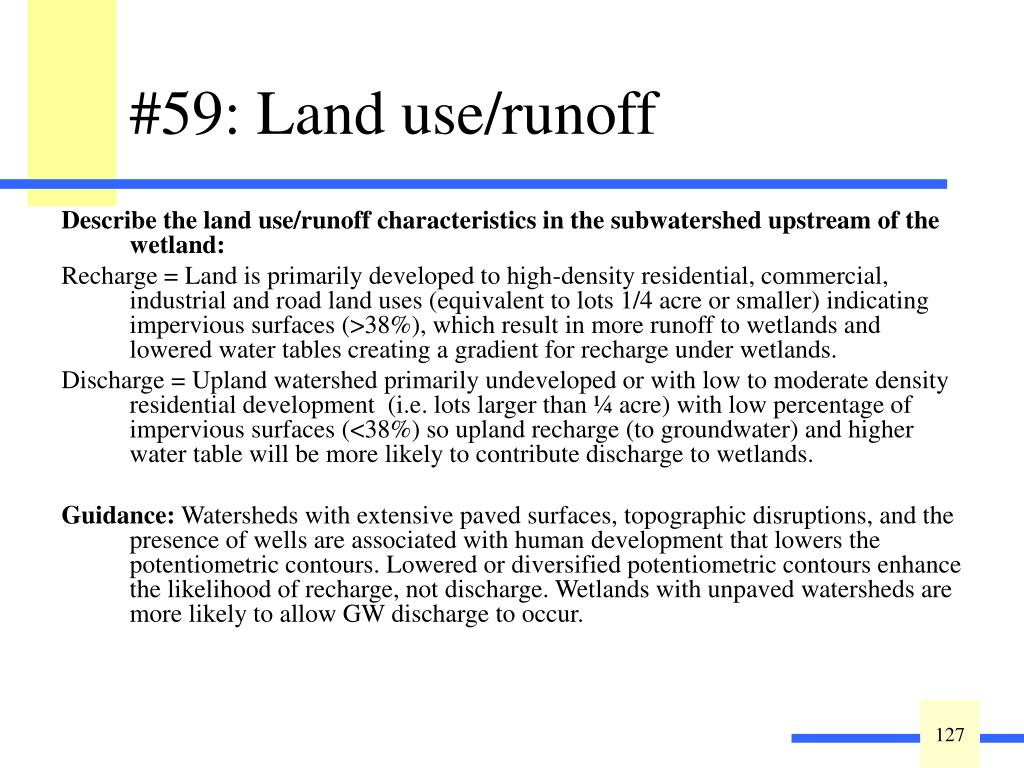Describe the land use/runoff characteristics in the subwatershed upstream of the wetland: