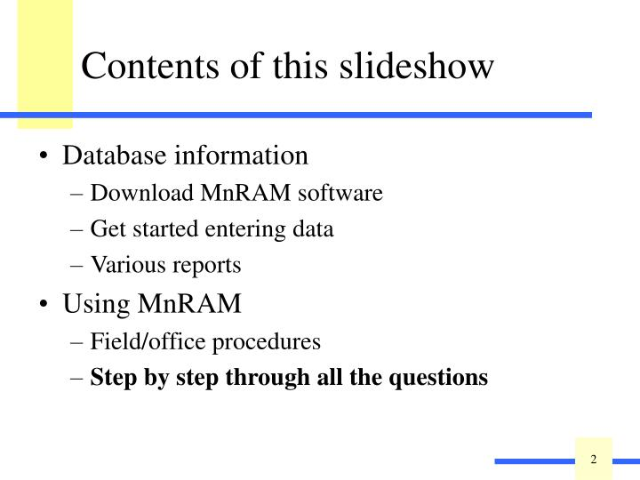 Contents of this slideshow