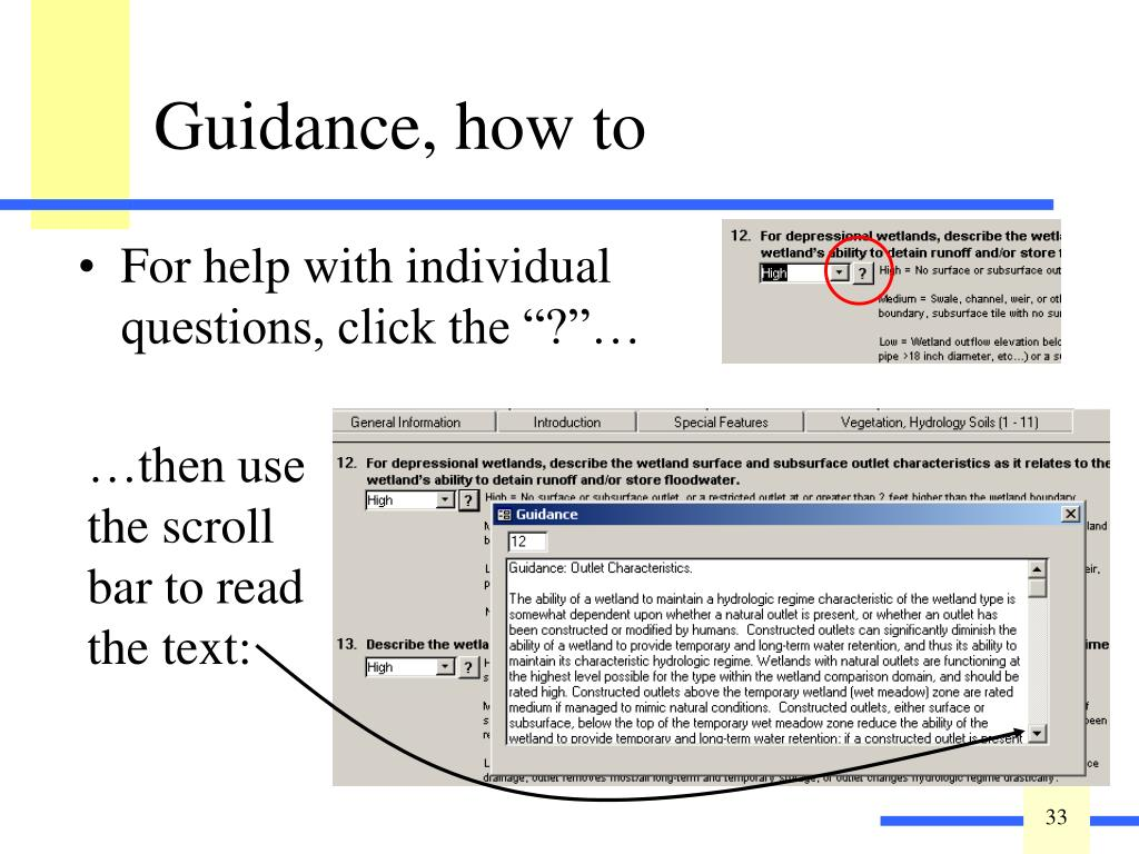 """For help with individual questions, click the """"?""""…"""