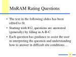 mnram rating questions