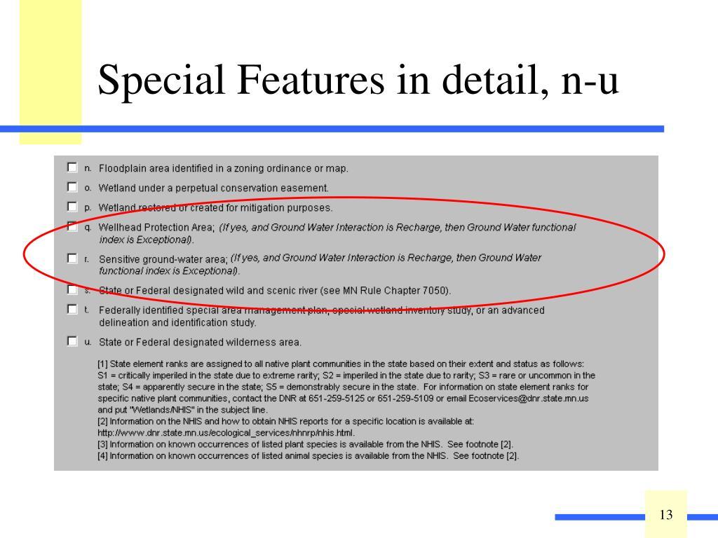 Special Features in detail, n-u