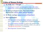 critics of human ecology