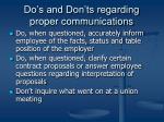 do s and don ts regarding proper communications