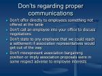 don ts regarding proper communications