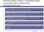 strategies seek turnaround leaders with specific competencies